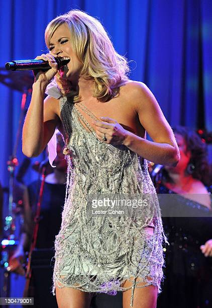 Singer Carrie Underwood onstage during the 52nd Annual GRAMMY Awards Salute To Icons Honoring Doug Morris held at The Beverly Hilton Hotel on January...