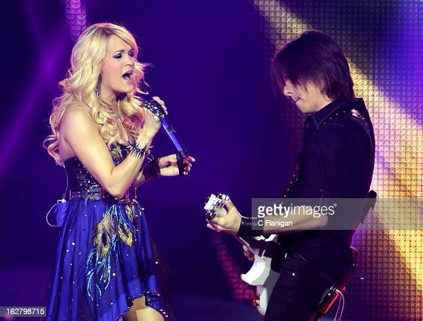 Singer Carrie Underwood performs at Stockton Arena on February 26, 2013 in Stockton, California.