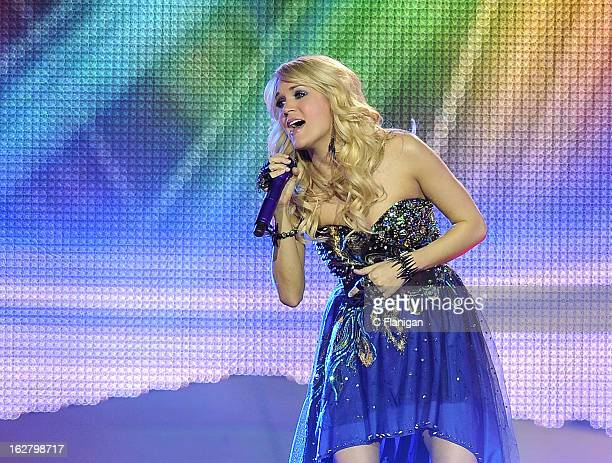 Singer Carrie Underwood performs at Stockton Arena on February 26 2013 in Stockton California