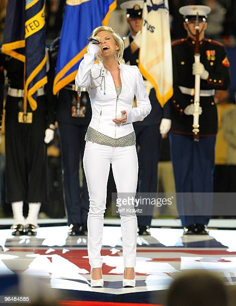 Singer Carrie Underwood performs during the Super Bowl XLIV Pregame Show at Sun Life Stadium on February 7, 2010 in Miami Gardens, Florida.