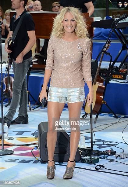 Singer Carrie Underwood performs on NBC's 'Today' at Rockefeller Plaza on August 15 2012 in New York City