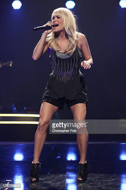 Singer Carrie Underwood performs onstage at the iHeartRadio Music Festival held at the MGM Grand Garden Arena on September 23 2011 in Las Vegas Nevada
