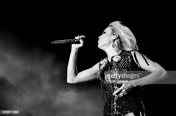 Singer Carrie Underwood performs onstage during 2016 Stagecoach California's Country Music Festival at Empire Polo Club on April 30 2016 in Indio...
