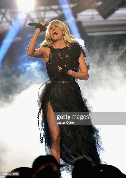 Singer Carrie Underwood performs onstage during the 40th Anniversary American Music Awards held at Nokia Theatre L.A. Live on November 18, 2012 in...