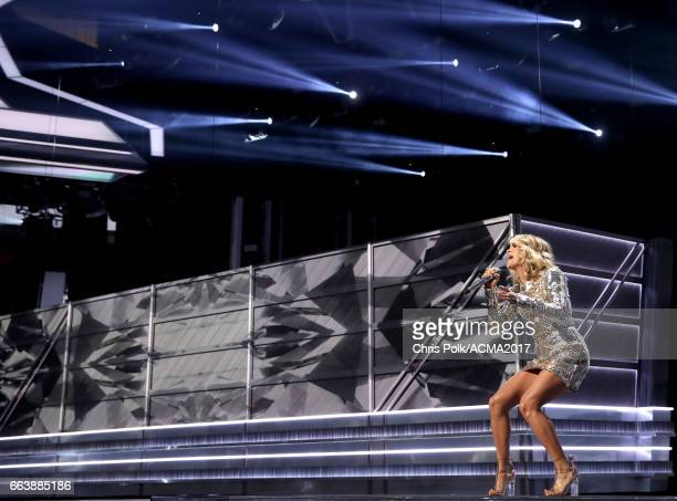 Singer Carrie Underwood performs onstage during the 52nd Academy of Country Music Awards at TMobile Arena on April 2 2017 in Las Vegas Nevada
