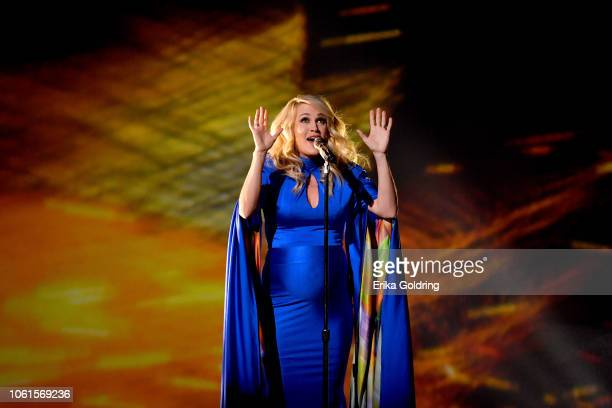 Singer Carrie Underwood performs onstage during the 52nd annual CMA Awards at the Bridgestone Arena on November 14 2018 in Nashville Tennessee