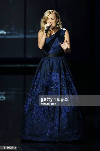 Singer Carrie Underwood performs onstage during the 65th Annual Primetime Emmy Awards held at Nokia Theatre LA Live on September 22 2013 in Los...