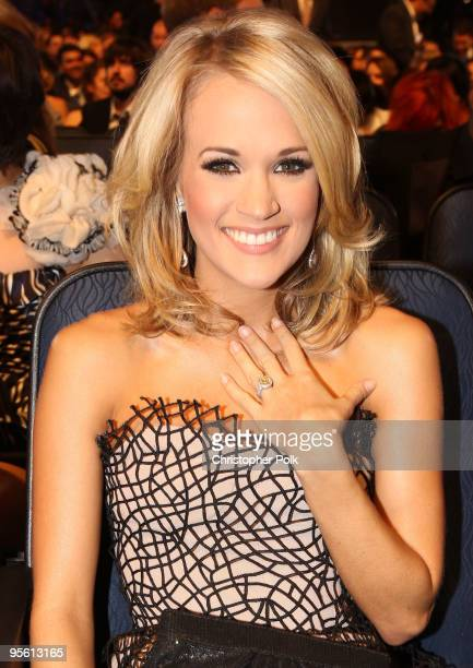 Singer Carrie Underwood poses in the audience during the People's Choice Awards 2010 held at Nokia Theatre LA Live on January 6 2010 in Los Angeles...