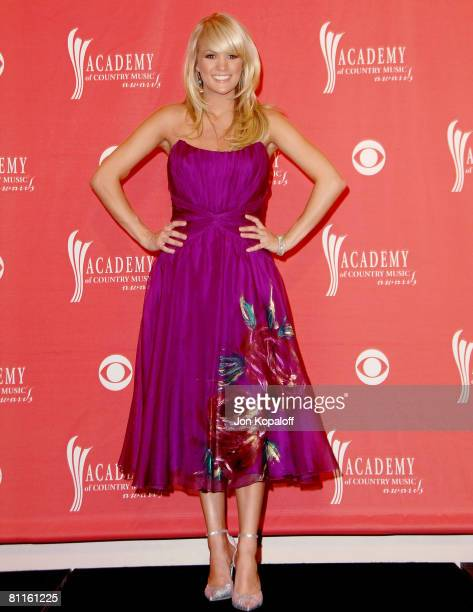 Singer Carrie Underwood poses in the press room during the 43rd annual Academy Of Country Music Awards held at the MGM Grand Garden Arena on May 18,...