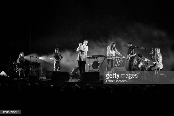 Singer Casper Clausen of the Danish band Efterklang performs live on stage during a concert at the Admiralspalast on February 10, 2020 in Berlin,...