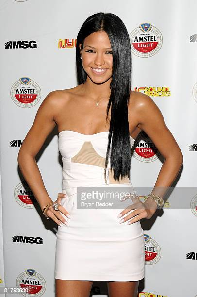 """Singer Cassie attends the launch of Madison Square Garden's new """"NYC Sound Tracks"""" series at Metrazur Restaurant on July 1, 2008 in New York City."""