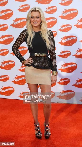 Singer Cassie Davis arrives for the Australian Nickelodeon Kids' Choice Awards 2009 at Hisense Arena on November 13 2009 in Melbourne Australia