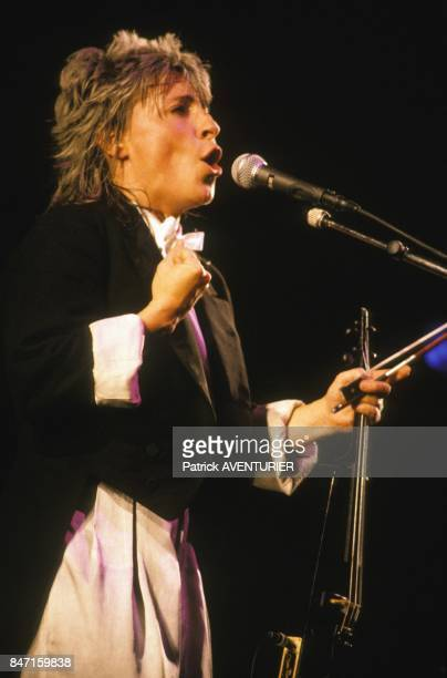Singer Catherine Lara on stage at Olympia music hall on October 6 1986 in Paris France