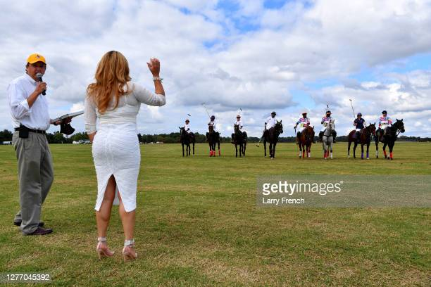 Singer Cece Peniston prepares to throw out the ball to start the polo match at Grandiosity Events 4th annual Polo & Jazz celebrity charity benefit...