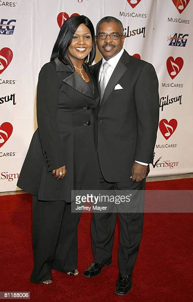 Singer CeCe Winans and Elvin Love arrive at the 2008 MusiCares Person of the Year gala honoring Aretha Franklin held at the Los Angeles Convention...