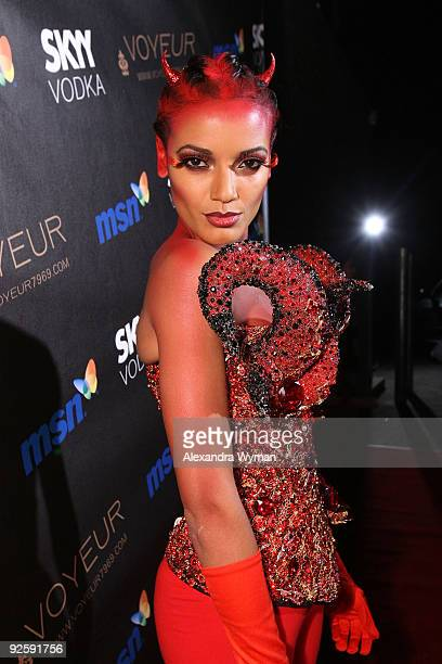 Singer Celeta arrives at Heidi Klum�s 10th Annual Halloween Party Presented by MSN and SKYY Vodka held at the Voyeur on October 31, 2009 in West...