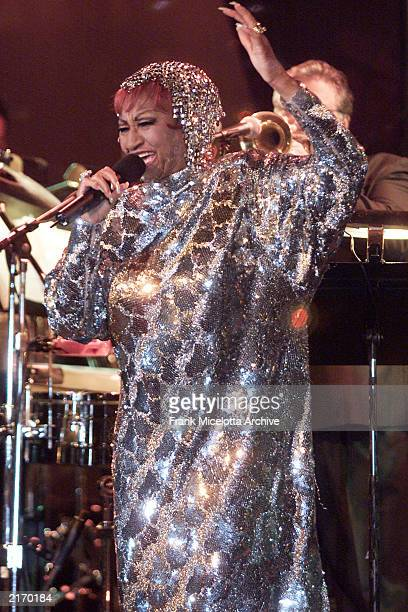 Singer Celia Cruz performs at the 2001 Latin Recording Academy Person of the Year Tribute to Julio Iglesias at the Beverly Hilton Hotel in Los...