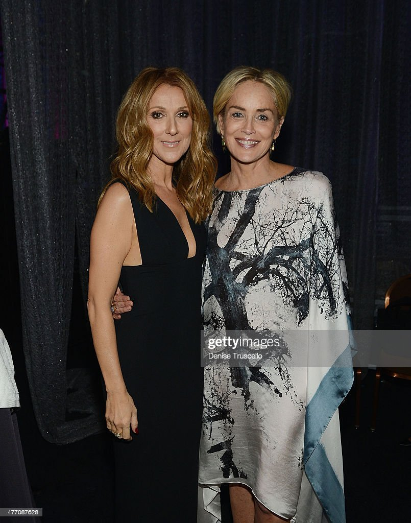 Singer Celine Dion (L) actress and Sharon Stone attend the 19th annual Keep Memory Alive 'Power of Love Gala' benefit for the Cleveland Clinic Lou Ruvo Center for Brain Health honoring Andrea Bocelli and Veronica Bocelli at MGM Grand Garden Arena on June 13, 2015 in Las Vegas, Nevada.