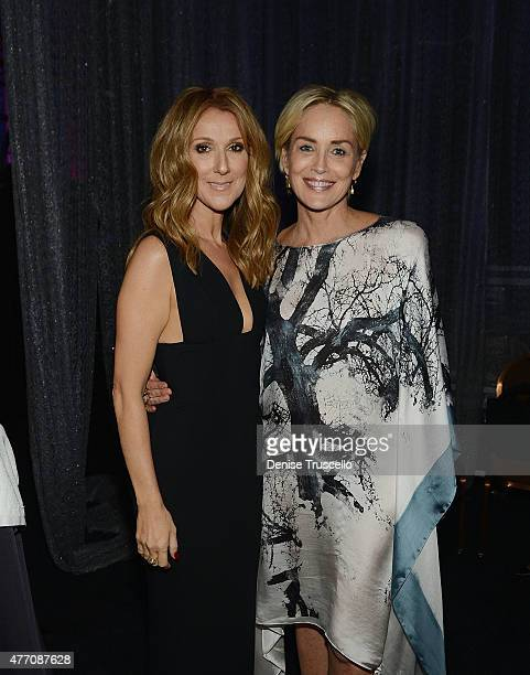 Singer Celine Dion actress and Sharon Stone attend the 19th annual Keep Memory Alive 'Power of Love Gala' benefit for the Cleveland Clinic Lou Ruvo...
