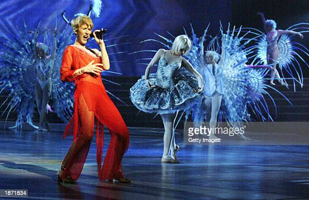 Singer Celine Dion and dancers rehearse for the upcoming Celine Dion A New Day concert at The Colosseum at Caesars Palace in Las Vegas Nevada Opening...