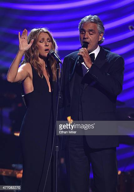 Singer Celine Dion and honoree Andrea Bocelli perform during the 19th annual Keep Memory Alive 'Power of Love Gala' benefit for the Cleveland Clinic...