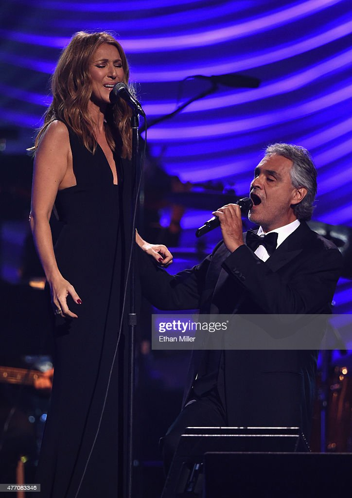 Singer Celine Dion (L) and honoree Andrea Bocelli perform during the 19th annual Keep Memory Alive 'Power of Love Gala' benefit for the Cleveland Clinic Lou Ruvo Center for Brain Health honoring Andrea Bocelli and Veronica Bocelli at MGM Grand Garden Arena on June 13, 2015 in Las Vegas, Nevada. on June 13, 2015 in Las Vegas, Nevada.