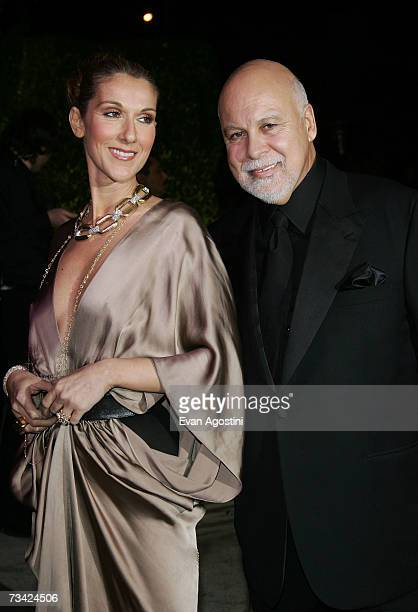 Singer Celine Dion and husband Rene Angelil arrives at the 2007 Vanity Fair Oscar Party at Mortons on February 25 2007 in West Hollywood California