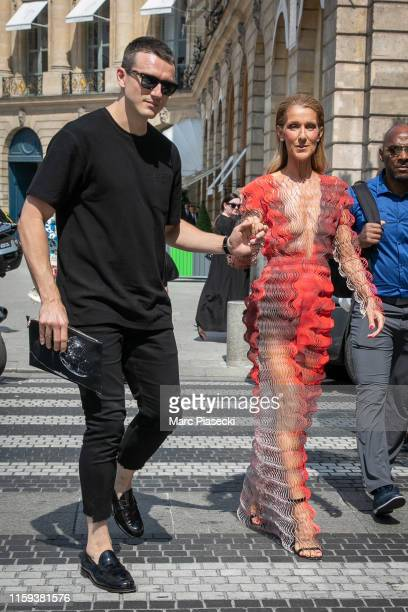 Singer Celine Dion and Pepe Munoz are seen on Place Vendome on July 01 2019 in Paris France