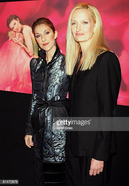 Singer Celine Dion and photographer Anne Geddes arrive at a reception to celebrate the release of their CD/book Miracle at Sony Musics Sony Club...