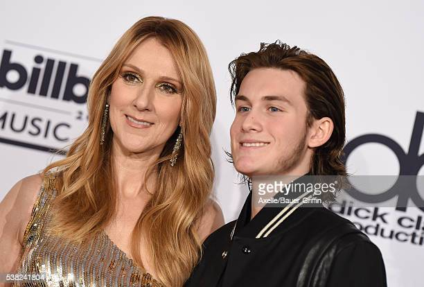 Singer Celine Dion and son Rene Charles Angelil pose in the press room at the 2016 Billboard Music Awards at T-Mobile Arena on May 22, 2016 in Las...