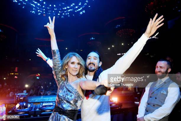 Singer Celine Dion and Steve Aoki during a concert benefitting the Las Vegas Victims Fund The benefit raised over 1 million dollars at OMNIA...