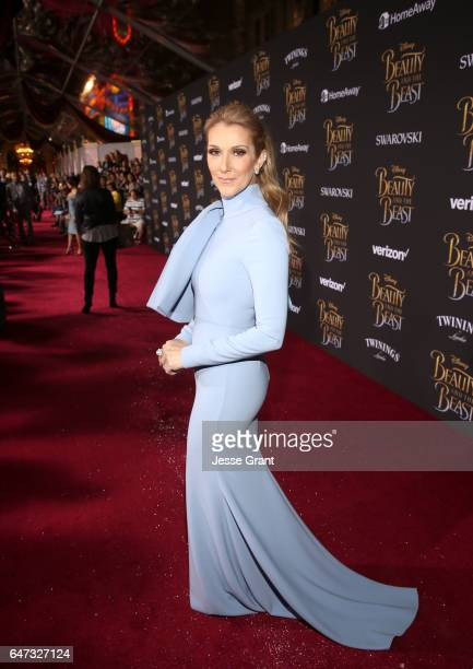 "Singer Celine Dion arrives for the world premiere of Disney's live-action ""Beauty and the Beast"" at the El Capitan Theatre in Hollywood as the cast..."
