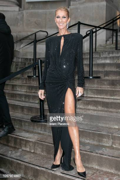 Singer Celine Dion arrives to attend the Alexandre Vauthier Haute Couture fashion show at Grand Palais on January 22 2019 in Paris France