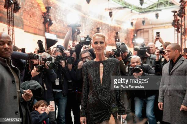 Singer Celine Dion attends the Alexandre Vauthier Haute Couture Spring Summer 2019 show as part of Paris Fashion Week on January 22 2019 in Paris...