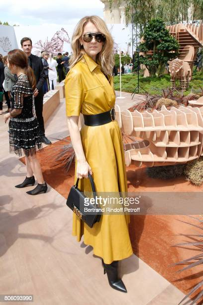 Singer Celine Dion attends the Christian Dior Haute Couture Fall/Winter 20172018 show as part of Haute Couture Paris Fashion Week on July 3 2017 in...