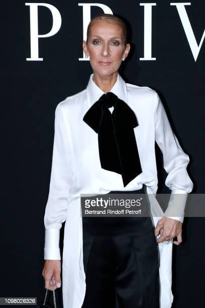 Singer Celine Dion attends the Giorgio Armani Prive Haute Couture Spring Summer 2019 show as part of Paris Fashion Week on January 22 2019 in Paris...