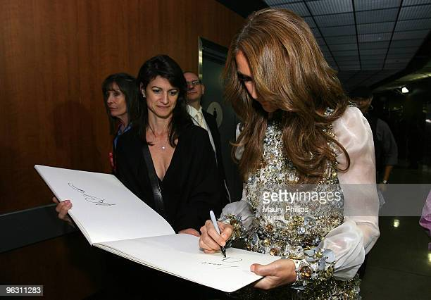 Singer Celine Dion backstage at the 52nd Annual GRAMMY awards MusiCares Signings Day 4 held at Staples Center on January 31, 2010 in Los Angeles,...