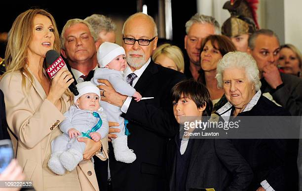 Singer Celine Dion, her son Nelson Angelil, husband and manager Rene Angelil with son Eddy Angelil, their son Rene-Charles Angelil and Dion's mother...