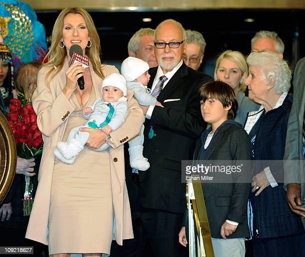 Singer Celine Dion, holding her son Nelson Angelil, her husband and manager Rene Angelil, holding their son Eddy Angelil, their son Rene-Charles...