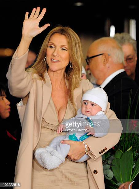 Singer Celine Dion holds her son Nelson Angelil as she arrives at Caesars Palace on February 16, 2011 in Las Vegas, Nevada.