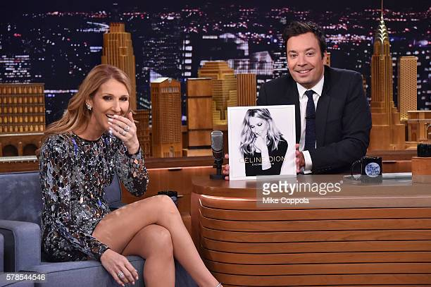 Singer Celine Dion is interviewed by host Jimmy Fallon on 'The Tonight Show Starring Jimmy Fallon' at Rockefeller Center on July 21 2016 in New York...