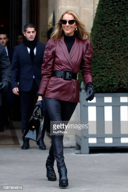 Singer Celine Dion is seen leaves the GIVENCHY office building on Avenue George V on January 24 2019 in Paris France