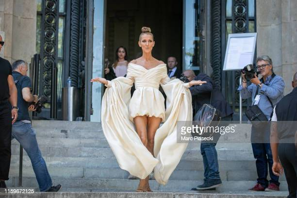 Singer Celine Dion is seen leaving the Alexandre Vauthier fashion show on July 02 2019 in Paris France