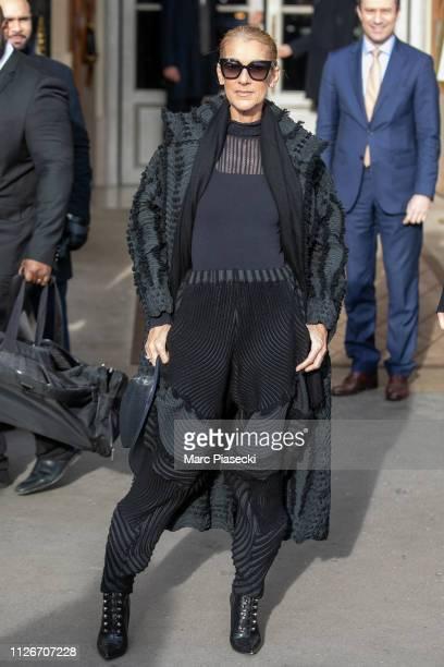 Singer Celine Dion is seen leaving the Hotel de Crillon on Place de la Concorde on February 01 2019 in Paris France