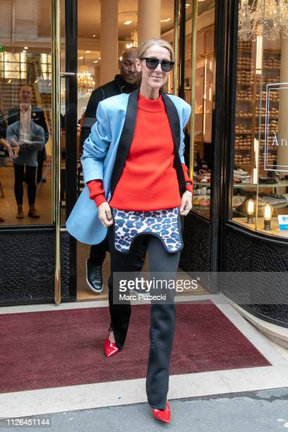 Singer Celine Dion is seen leaving the 'Repetto' ballet store on January 31 2019 in Paris France