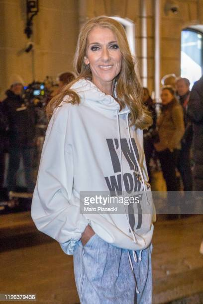 Singer Celine Dion is seen on the set of 'L'Oreal Excellence' at Hotel Plaza Athenee on Avenue Montaigne on January 30 2019 in Paris France