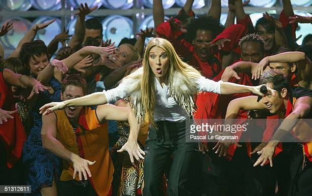 Singer Celine Dion is seen performing on stage during the 2004 World Music Awards at the Thomas and Mack Center on September 15 2004 in Las Vegas...