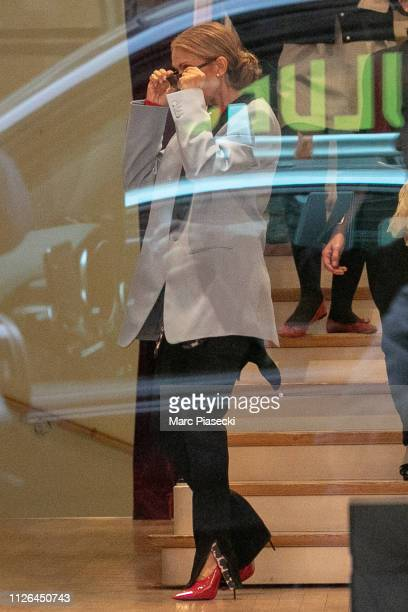 Singer Celine Dion is seen shopping at the 'Repetto' ballet store on January 31 2019 in Paris France