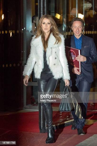 Singer Celine Dion leaves her hotel on November 13 2013 in Paris France