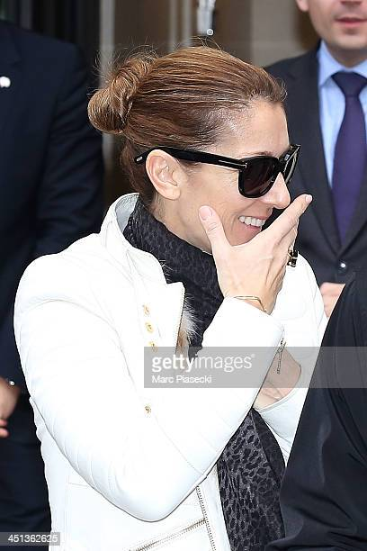 Singer Celine Dion leaves her hotel on November 22 2013 in Paris France